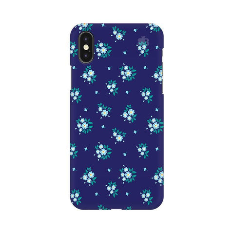 Blue Floral Pattern Apple iPhone X Phone Cover