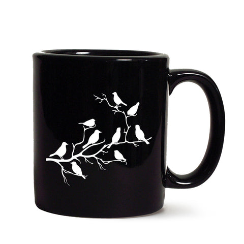 Birds on Branch Black Coffee Mug