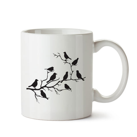 Birds on Branch White Coffee Mug