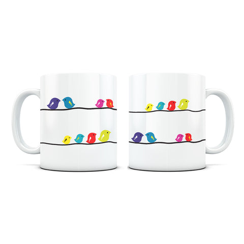 Birds on Branches White Coffee Mug