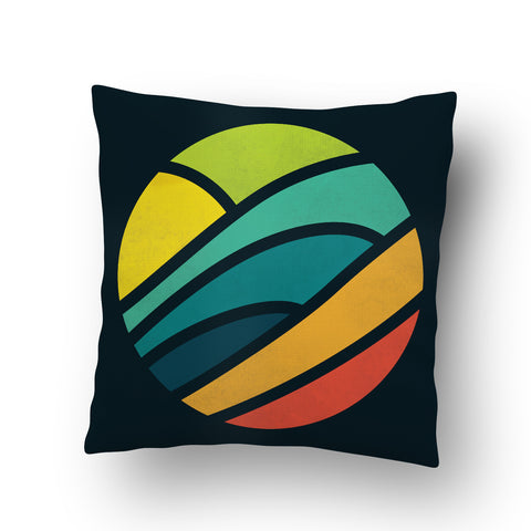 Waves in Round Cushion cover