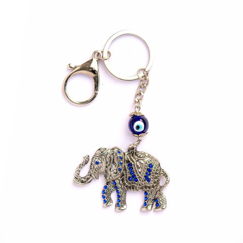 Evil Eye Blue Elephant Keychain