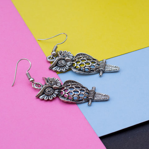 Metallic Owl Earring