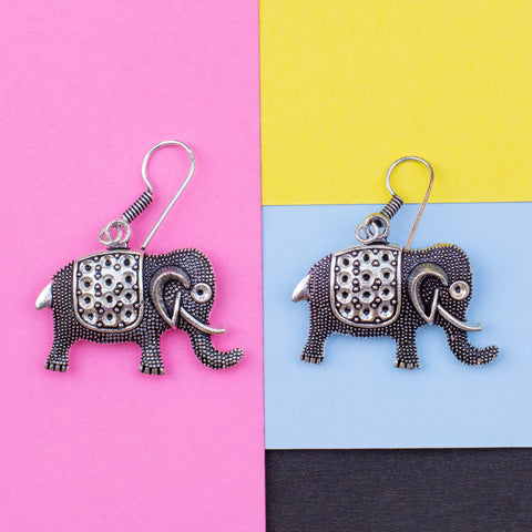 Metallic Elephant Earring