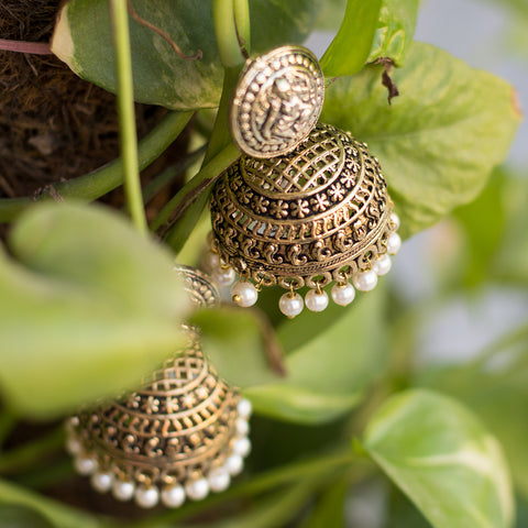 Heavy Metallic Golden White Pearl Jhumka