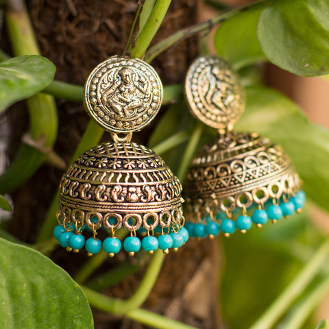 Heavy Metallic Golden Cyan Jhumka