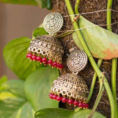 Heavy Metallic Golden Maroon Pearl Jhumka
