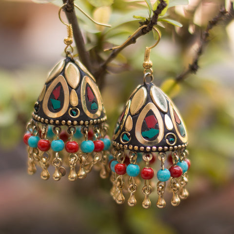 Multicolored Brass Earrings