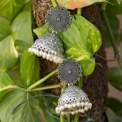 Heavy Metallic Grey Silver Pearls Jhumka
