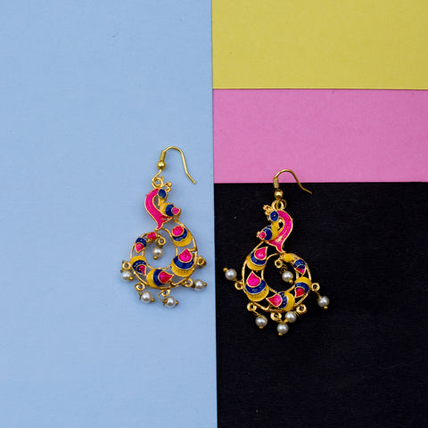 Golden Multicolored Pink Peacock Earring