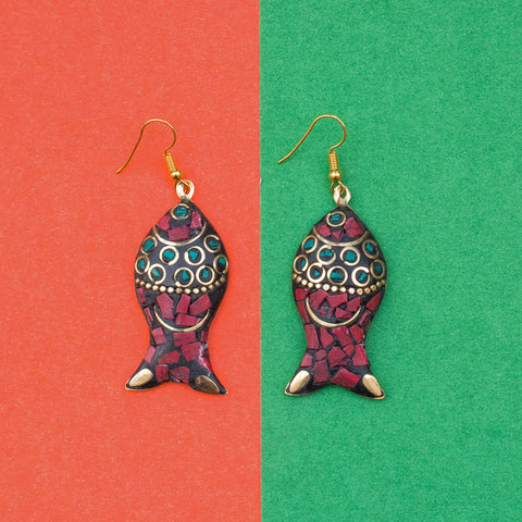 Green Red Brass Fish Jhumka