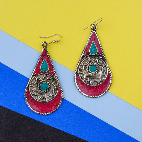 The Droplet Brass Red Cyan Jhumka