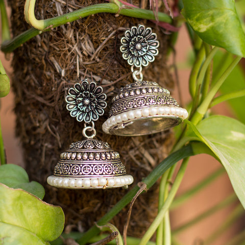 Heavy Metallic Silver Beads Jhumka