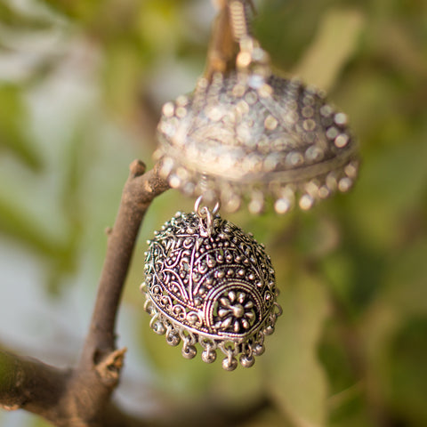 Elliptical Dome Silver Metallic Jhumka