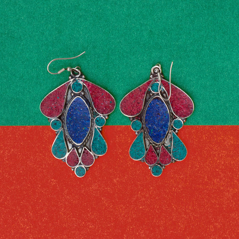 The Nepalese Traditional Blue Red Earring