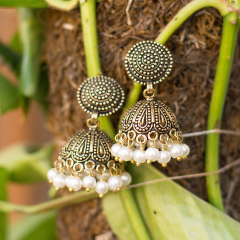 Disk Hemispherical Golden Light Jhumka