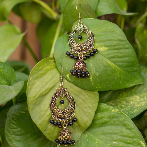 Golden Disk & Sphere Black Pearl Jhumka