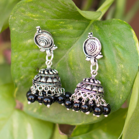Metallic Silver Black Beads Jhumka