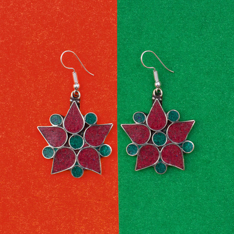 Nepalese Red & Green Flower Earring