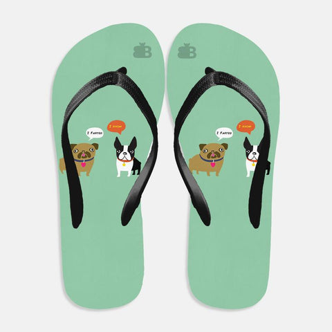 Cute Dog Buddies Flip Flops