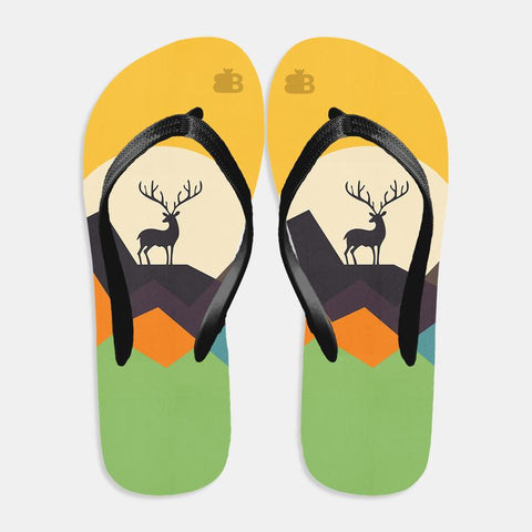 Deer in Mountains Flip Flops