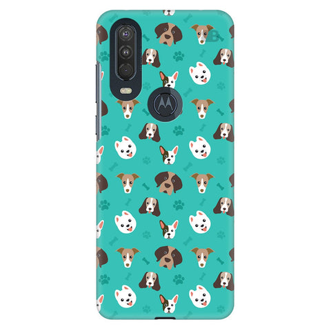 Doggie Pattern Motorola One Action Cover