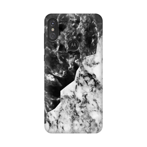 Black White Marble Motorola Moto One Power Cover
