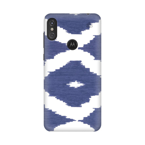 Blue Ikat Motorola Moto One Power Cover