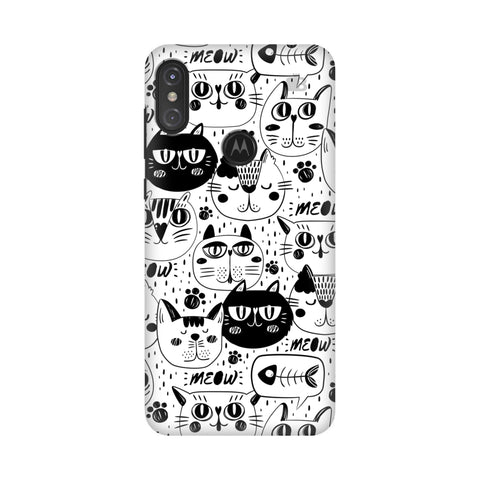 Cute Cats Pattern Motorola Moto One Power Cover