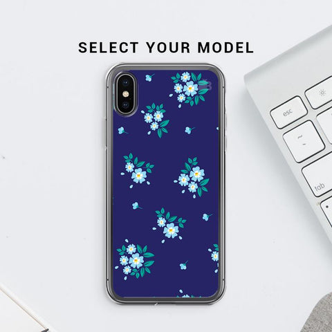 Blue Floral Pattern Soft Phone Cover