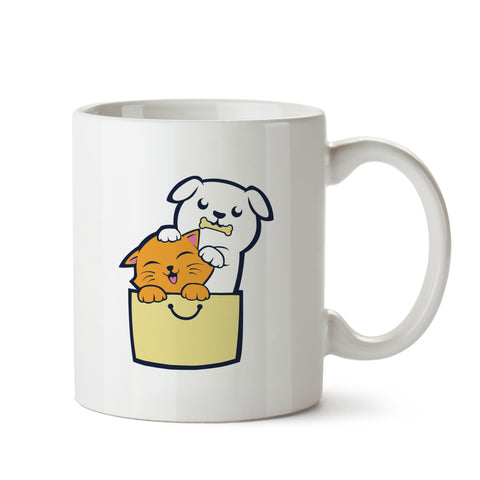 kitty Puppy buddies white mug