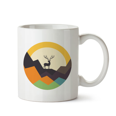 Deer on Mountain white mug