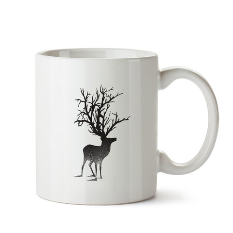 Abstract Deer white mug