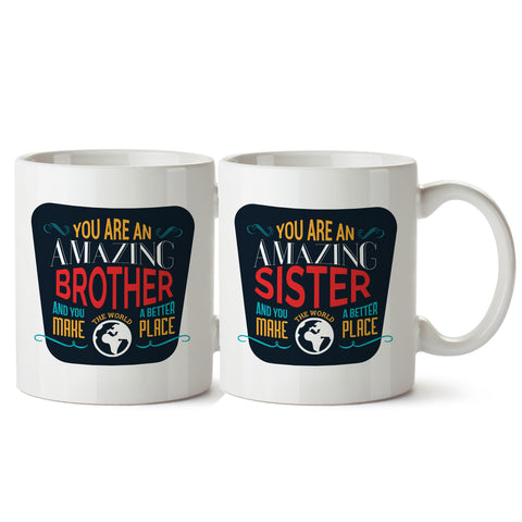 Brother Sister Duo White Coffee Mug
