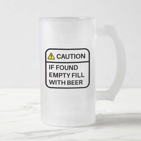Caution Frosted Beer Mug