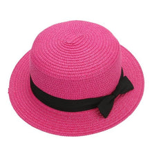 New Fashion Sun Flat Straw Hat Boater Hat Girls Bow Summer Hats For Women Beach Flat Panama Straw Hat Chapeau Femme