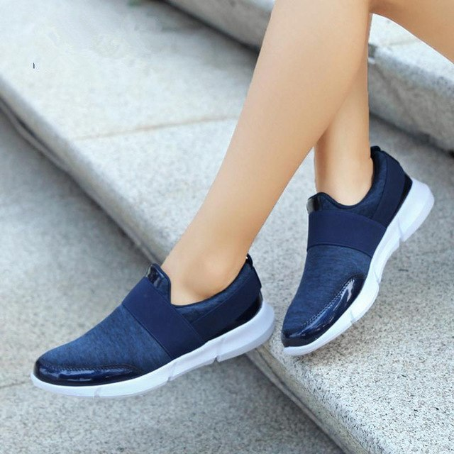 2019 Spring Summer Women Slip On Loafers Ladies Casual Comfortable Flats Female Breathable Stretch Cloth Shoes Woman Zapatillas
