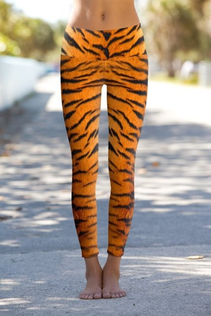 #Tiger Skin Yoga without Face - Eco-Friendly Power Leggings