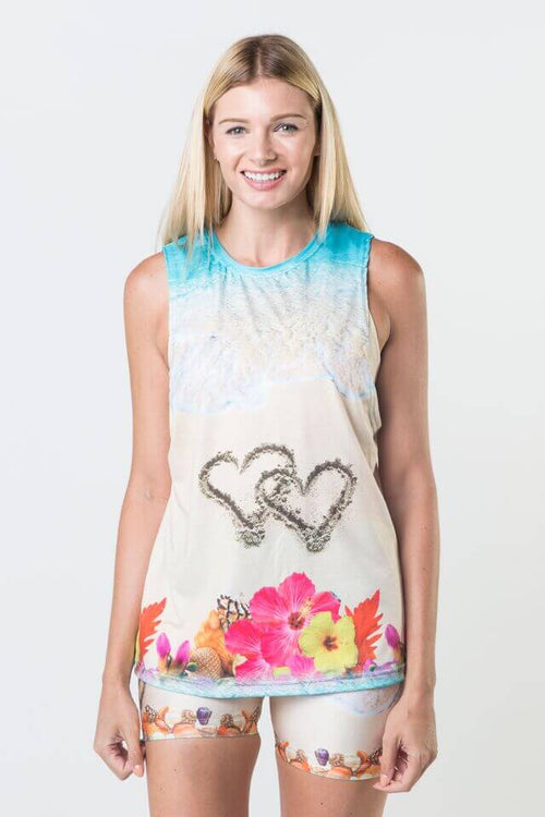 *Hearts In The Sand - Dropped Armhole Tank Top