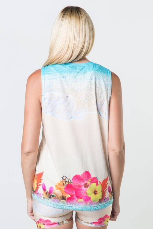 #Hearts In The Sand - Dropped Armhole Tank Top
