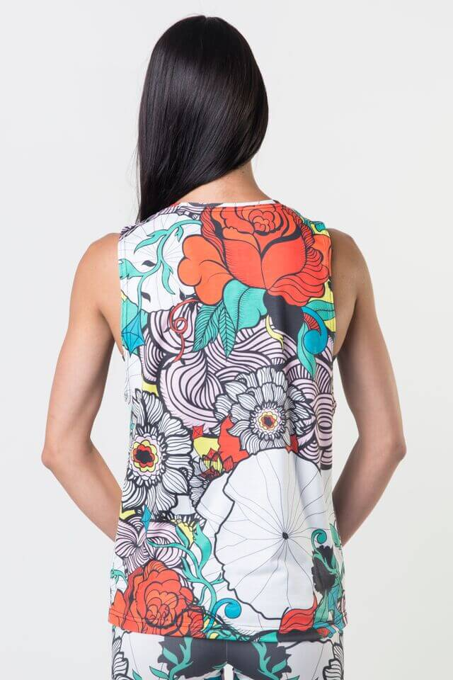 #Retro Rose - Dropped Armhole Tank Top