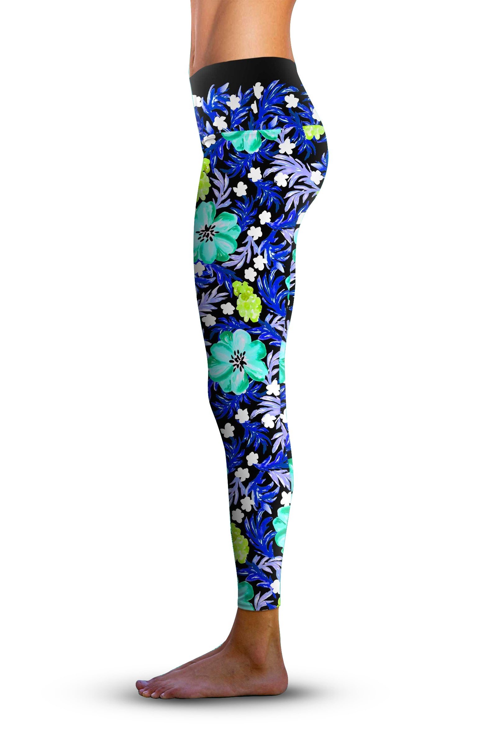 #Fabulous Blue Floral, Eco-Friendly Active Performance Leggings