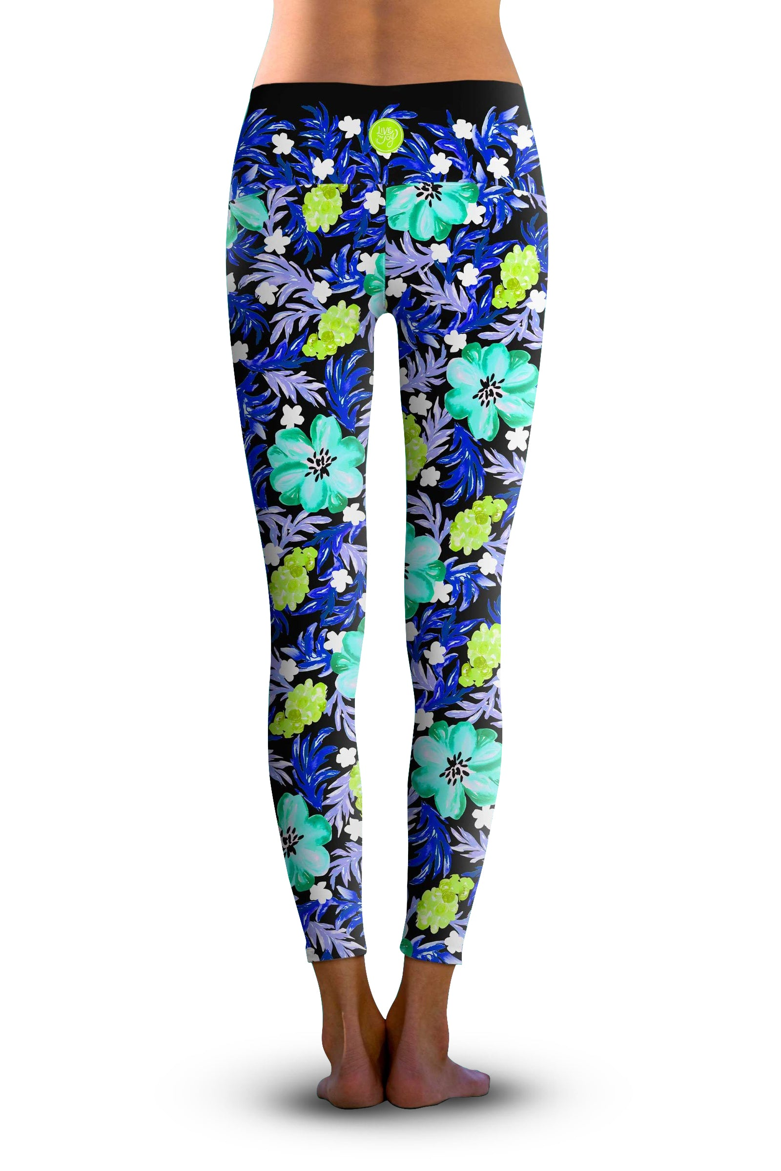 2nd Gen. Fabulous Blue Floral, Eco-Friendly Active Performance Leggings