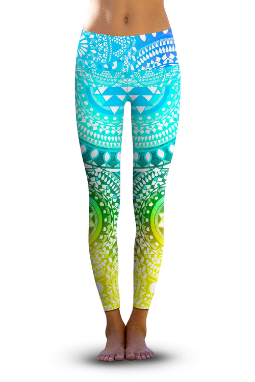#Aqua Chakra, Eco-Friendly Active Performance Leggings