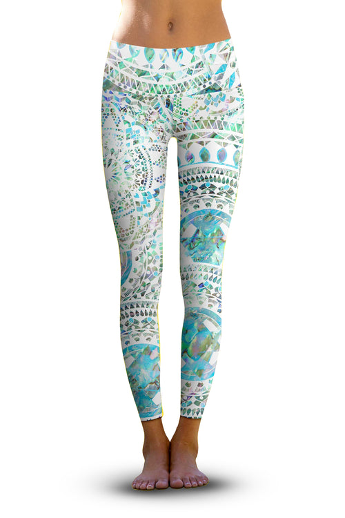 #Abalone Chakra, Eco-Friendly Active Performance Leggings