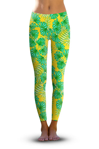 #Rainforest Palms, Eco-Friendly Active Performance Leggings
