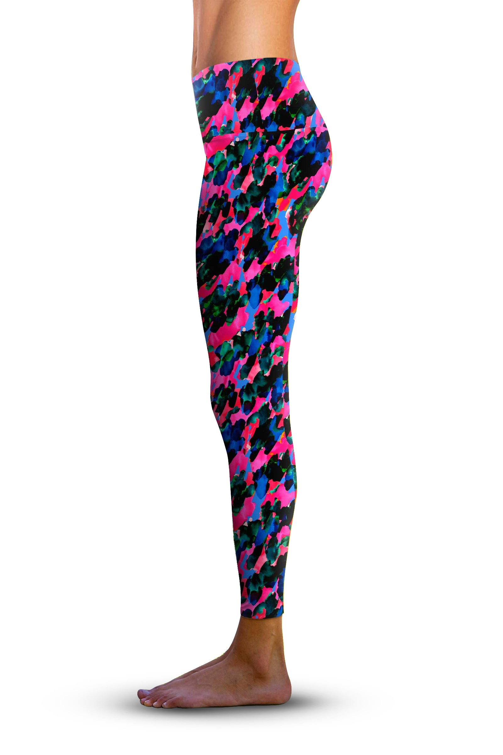 #Painterly Camo, Eco-Friendly Active Performance Leggings
