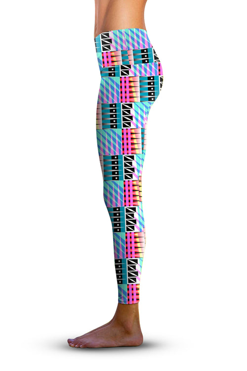 #Memphis Spikes, Eco-Friendly Active Performance Leggings