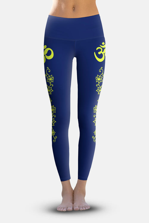 #Navy Lime Flowering Vines, Eco-Friendly Active Performance Leggings