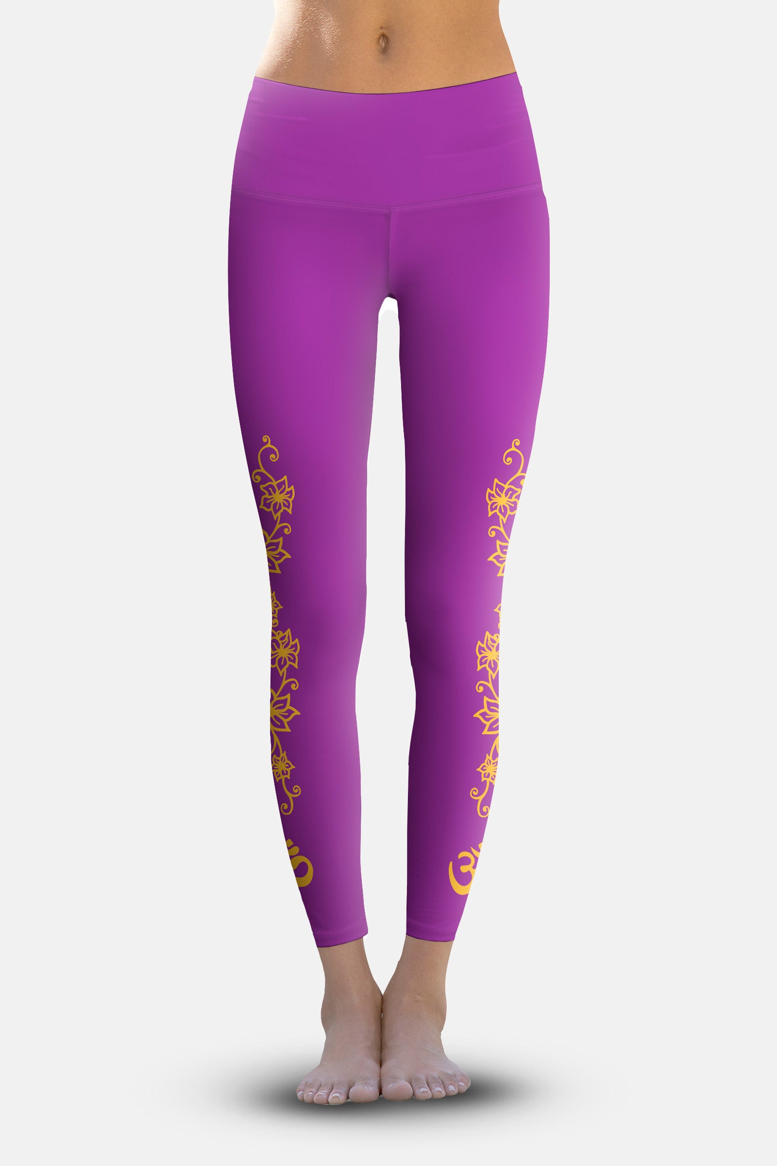 #Plum Orange Flowering Vines, Eco-Friendly Active Performance Leggings